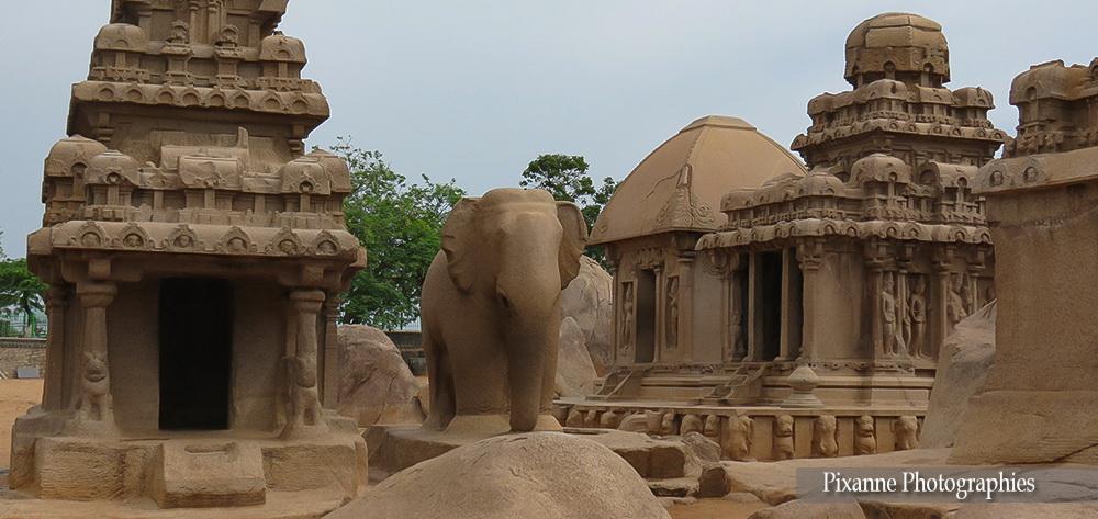 Asie, Inde du Sud, Tamil Nadu, Mahabalipuram, Pancha Ratha, Cinq Chars, Souvenirs de Voyages, Pixanne Photographies