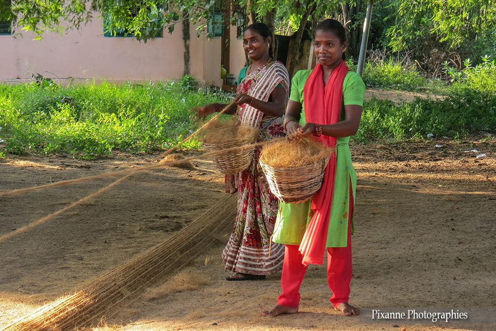 Asie, Inde du Sud, Kerala, Backwaters, filature, fibre de coco, Souvenirs de Voyages, Pixanne Photographies