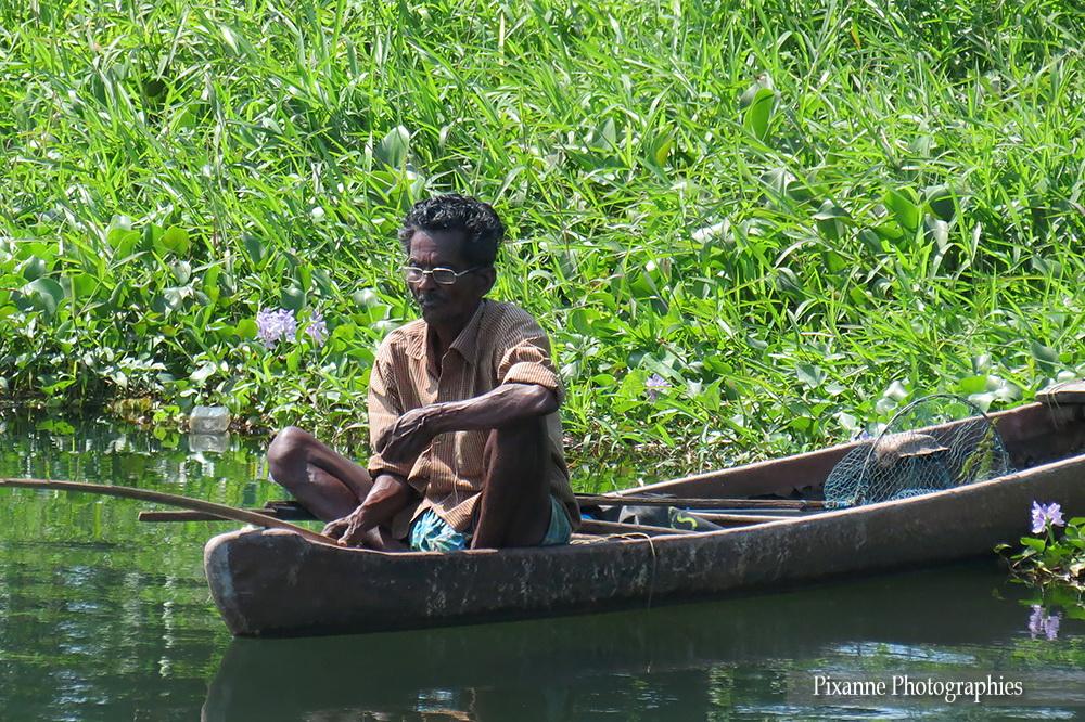 Asie, Inde du Sud, Kerala, Backwaters, pêcheur, barque, Souvenirs de Voyages, Pixanne Photographies