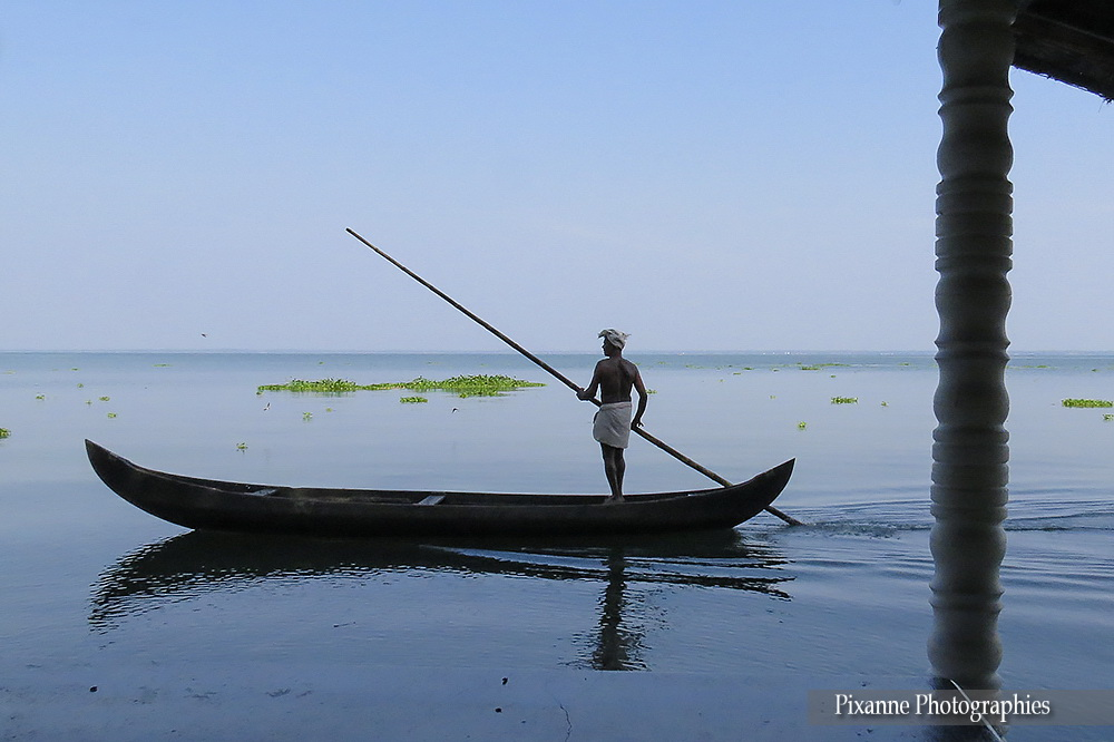 Asie, Inde du Sud, Kerala, Lac Vembanad, Pêcheur, Souvenirs de Voyages, Pixanne Photographies