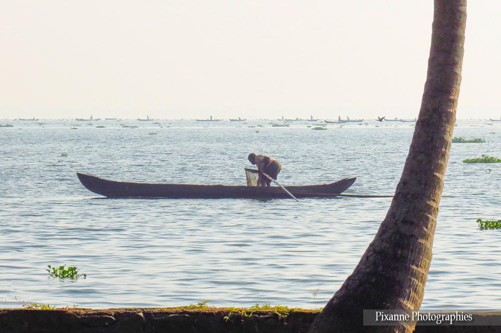 Asie, Inde du Sud, Kerala, Backwaters, Lac Vembanad, pêcheur, barque, Souvenirs de Voyages, Pixanne Photographies