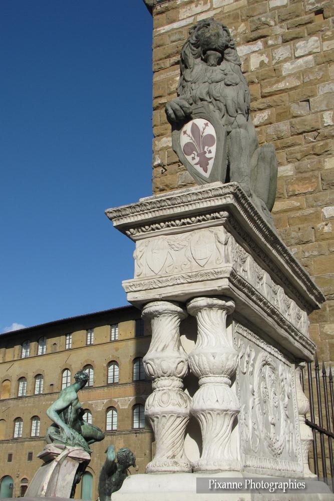 Europe, Italie, Florence, Piazza della Signoria, Place de la Seigneurie, Marzocco, lion, Souvenirs de Voyages, Pixanne Photographies