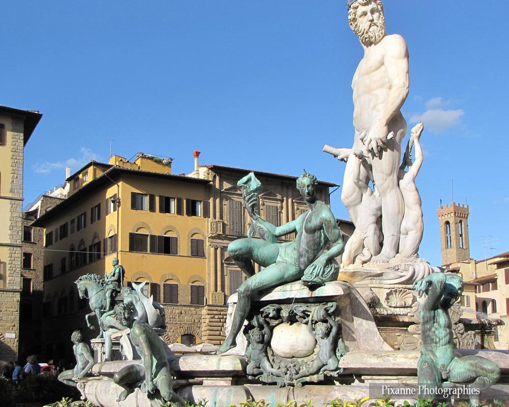 Europe, Italie, Florence, Piazza della Signoria, Place de la Seigneurie, Fontaine de Neptune, Il Biancone, Bartolomeo Ammannati, Souvenirs de Voyages, Pixanne Photographies