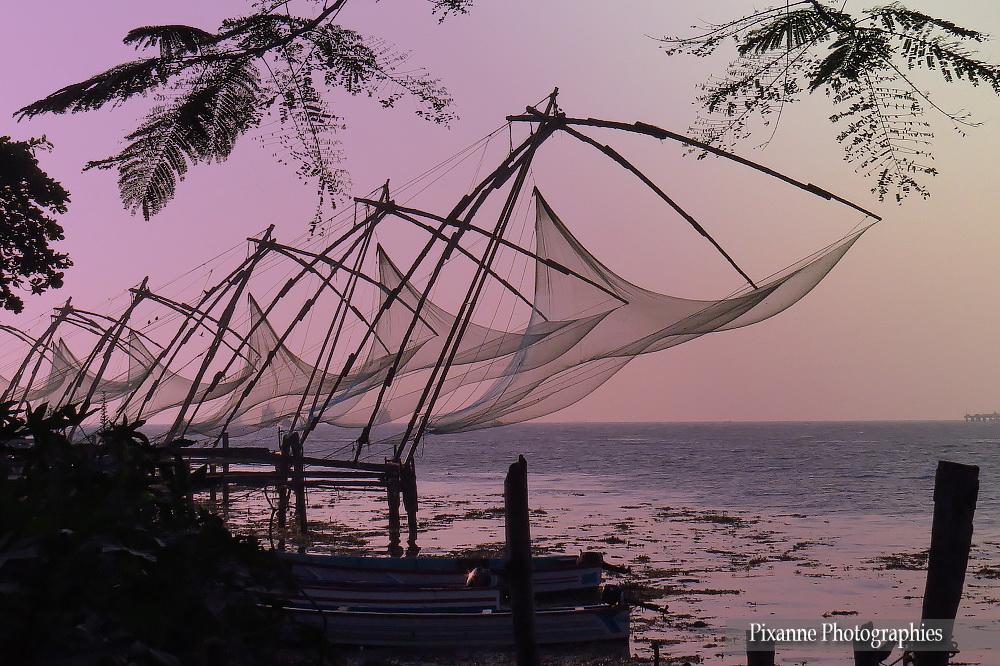Asie, Inde du Sud, Kerala, Fort Kochi, Cochin, Filet de pêche Chinois, Carrelets Chinois, Souvenirs de Voyages, Pixanne Photographies